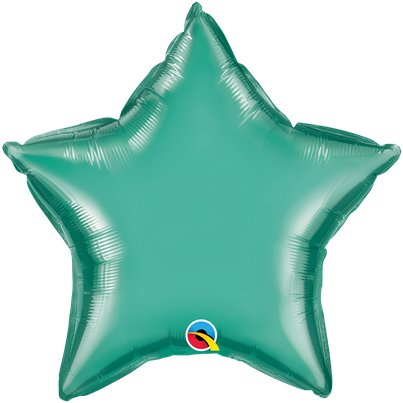 "Green Chrome Star Balloon - 20"" Foil - Unpackaged"