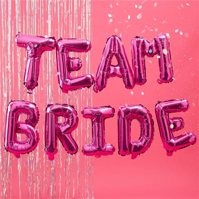 "Team Bride Pink Balloon Bunting - 16"" Foil"