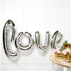 "Giant Silver Love Balloon - 53"" Foil"