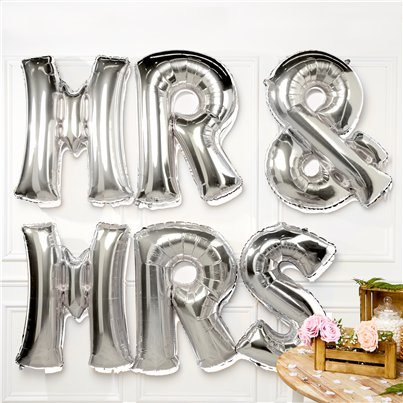 "Silver Mr & Mrs Balloons - 34"" Foil"