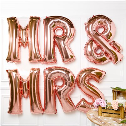 "Rose Gold Mr & Mrs Balloons - 34"" Foil"