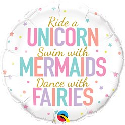 "Unicorn, Mermaid & Fairies Balloon - 18"" Foil"