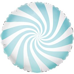 Light Blue Candy Swirl Foil Balloon - 18""