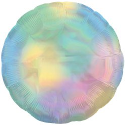 "Pastel Rainbow Iridescent Circle Balloon - 18"" Foil"
