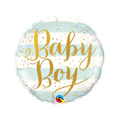 "Blue Stripes Baby Boy Mini Airfilled Balloon - 9"" Foil"