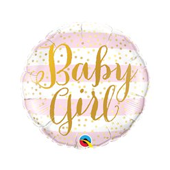 "Pink Stripes Baby Girl Mini Airfilled Balloon - 9"" Foil"