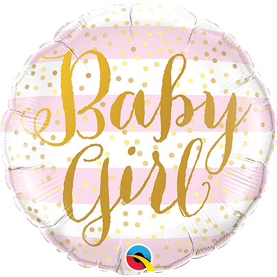 "Pink Stripes Baby Girl Balloon - 18"" Foil"