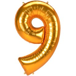 "Gold Number 9 Balloon - 53"" Foil"
