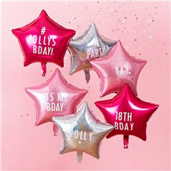 Pink & Iridescent Personalisable Star Foil Balloon pack - 18""