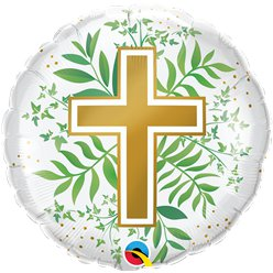 "Golden Cross Greenery Balloon - 18"" Foil"