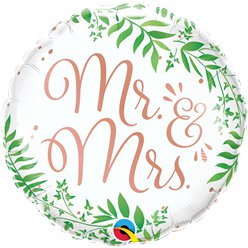 "Mr & Mrs Elegant Greenery Balloon - 18"" Foil"
