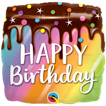 "Rainbow Happy Birthday Cake Balloon - 18"" Foil"