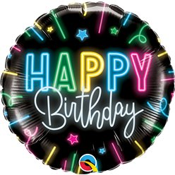 "Happy Birthday Neon Glow - 18"" Foil"