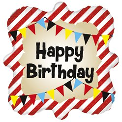 "Happy Birthday Square Striped 18"" Foil"