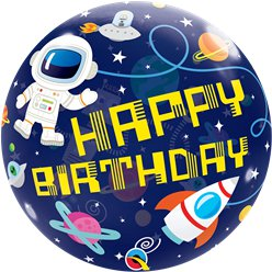 "Outer Space ""Happy Birthday"" Bubble Balloon - 22"""