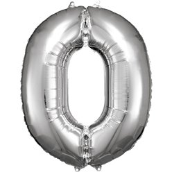 "Silver Number 0 Balloon - 34"" Foil"