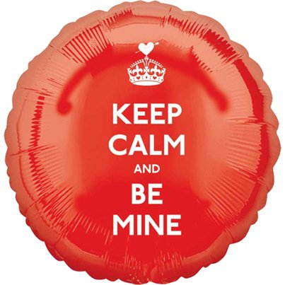"Valentines Keep Calm & Be Mine Balloon - 18"" Foil"