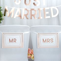 Geo Blush 'Mr & Mrs' Wedding Chair Bunting