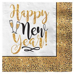 Gold Glitter New Year Paper Napkin - 33cm