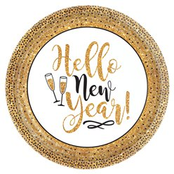 Gold Glitter New Year Paper Plates - 26cm