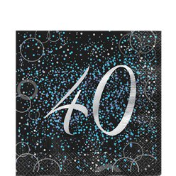 40th Blue Glitz Lunch Napkins - 33cm