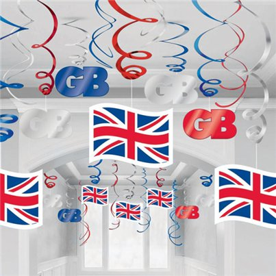 Union Jack Hanging Swirls - 60cm