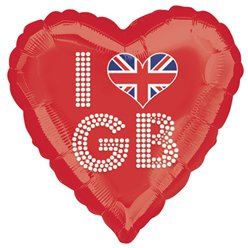 "I Love GB Great Britain Red Heart Shaped Balloon - 18"" Foil"