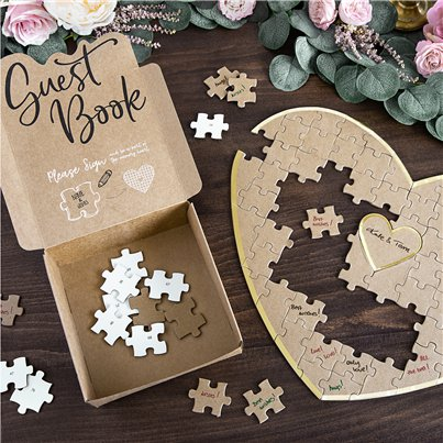 Wooden Heart Puzzle Guest Book