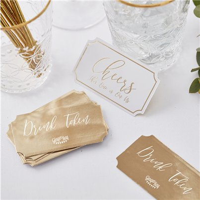 Gold Wedding Drink Tokens