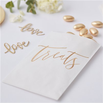 Gold Wedding Treat Bags