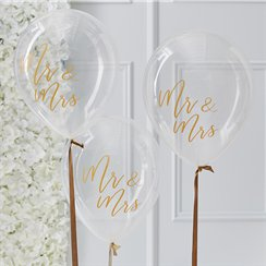"Gold Wedding Mr & Mrs Balloons - 12"" Latex"