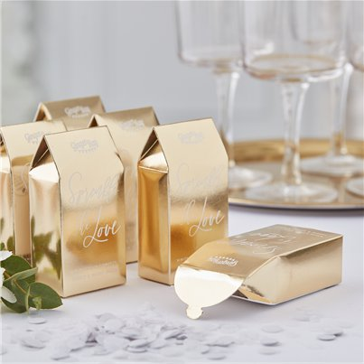 Gold Wedding Confetti Box
