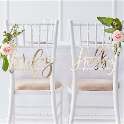 Gold Wedding Wifey & Hubby Chair Signs - 30cm