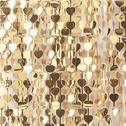 Gold Wedding Heart Foil Curtain Backdrop - 2.5m