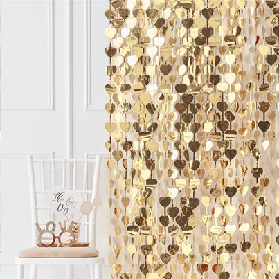 Gold Wedding Heart Foil Backdrop - 2.5m