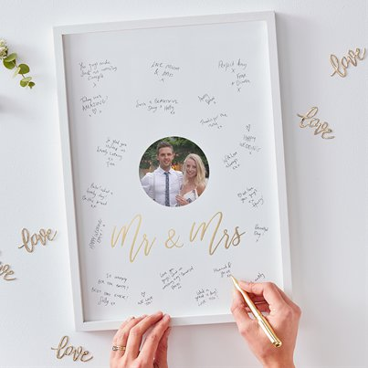Gold Wedding Guest Book Frame - 44cm
