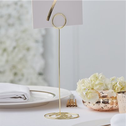 Gold Wedding Metal Table Number Holder - 22cm