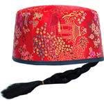 Oriental Mandarin Hat with Pigtail
