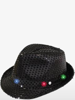 Black Sequin LED Light Up Trilby Hat