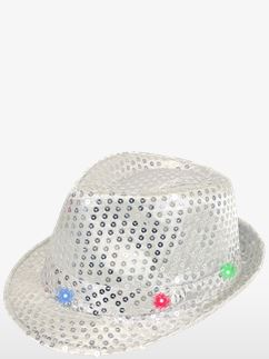 Silver Sequin LED Light Up Trilby Hat