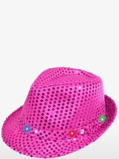 Pink Sequin LED Light Up Trilby Hat