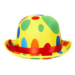 Clown Dotted Bowler Hat - Adult