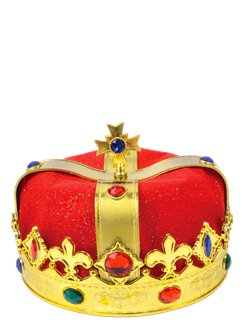 Kings Gold Plastic crown with Red Velvet