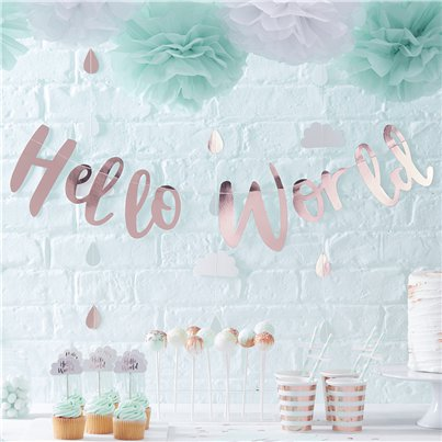 Hello World Rose Gold Letter Banner - 2m