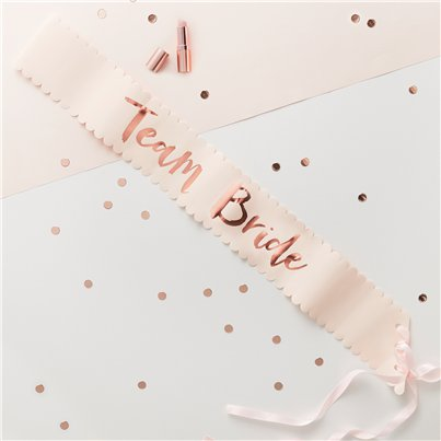Team Bride Rose Gold Foiled Paper Sashes