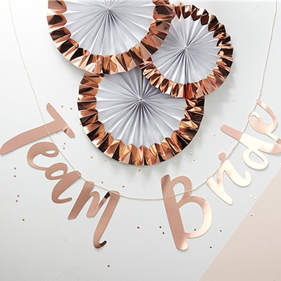"""Team Bride' Rose Gold Paper Banner - 1.5m"