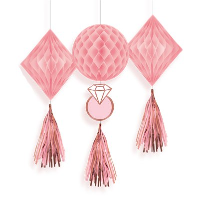 Blush Hen Party Honeycomb Tassel Decorations 3 pack