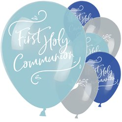 "First Holy Communion Blue Mix Balloons - 11"" Latex"