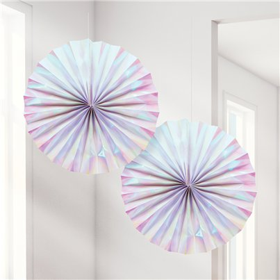 Iridescent Paper Fan Decorations - 30cm