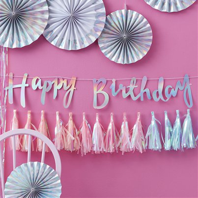 Iridescent Party Happy Birthday Letter Banner - 1.5m